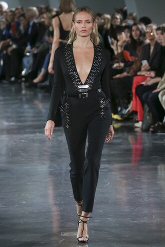 jumpsuit plunge v neck pants runway thierry mugler natasha poly paris fashion week 2017