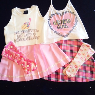 socks emoji print pastel pink pink tartan plaid plaid skirt skirt top crop tops tartan skirt weird girl kawaii sassy halter top halter crop top white donut sailor moon anime manga pleated skirt pink skirt striped skirt rainbow heart aesthetic tumblr multicolor