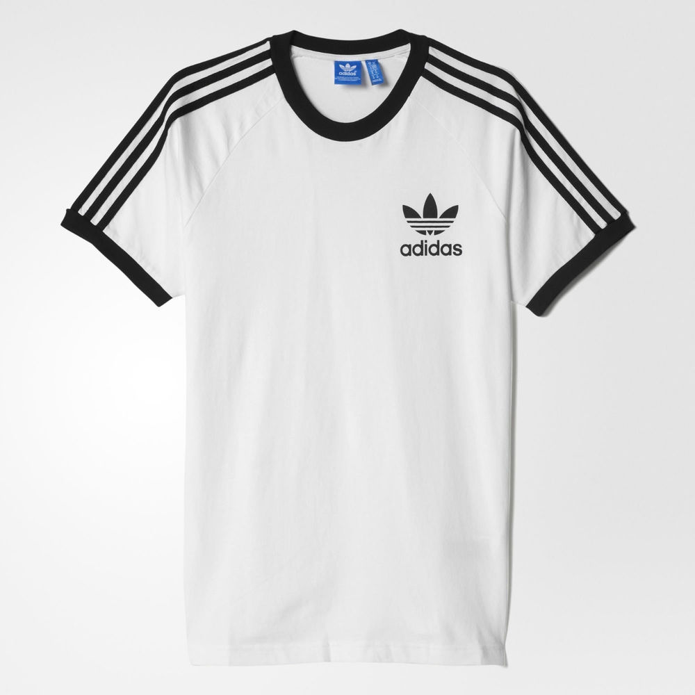 adidas originals 3 stripes white trefoil tee t shirt xs s m l xl xxl vintage. Black Bedroom Furniture Sets. Home Design Ideas