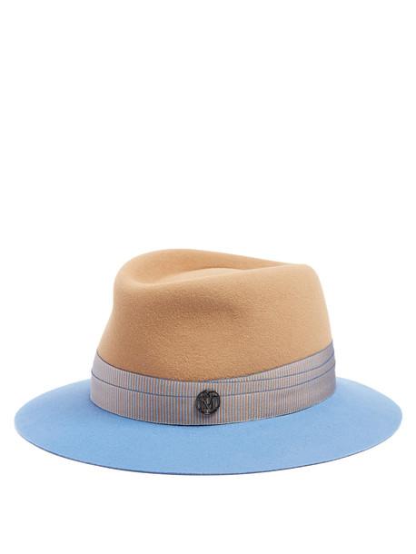 MAISON MICHEL Andre fur-felt hat in blue / multi