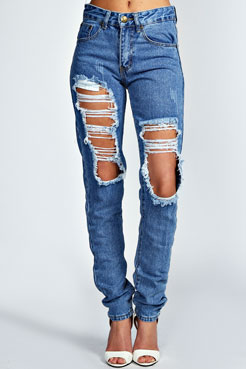Lisa Extreme Ripped Mid Blue Distressed Jeans at boohoo.com