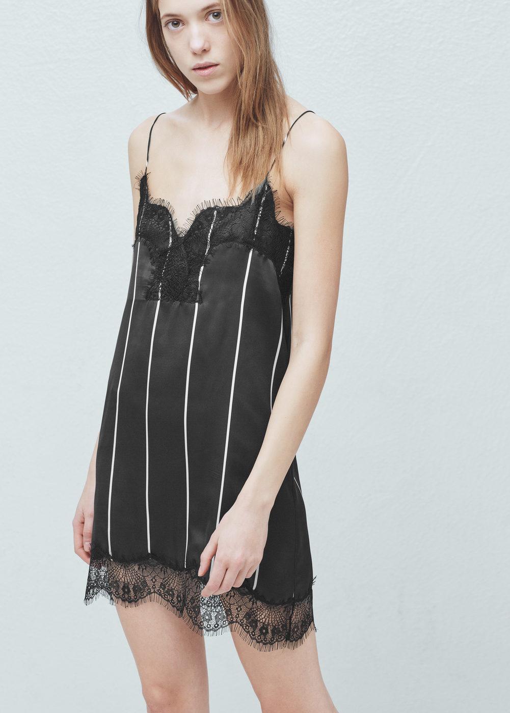 Lace trim dress - Women | MANGO USA