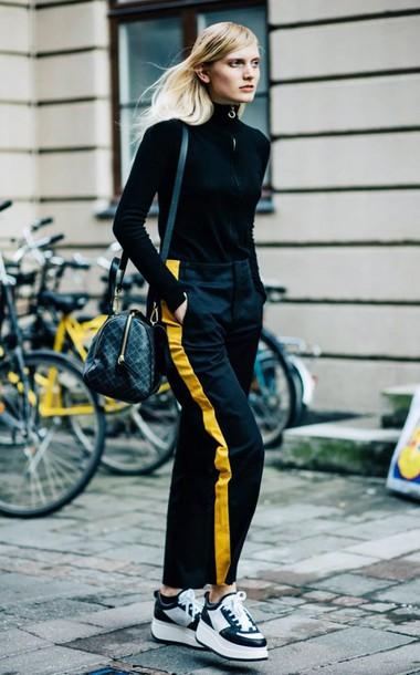 Pants Side Stripe Pants Black Pants Streetstyle Sneakers Black