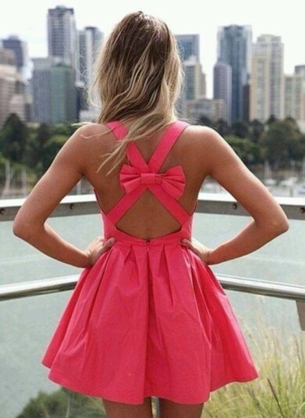dress pink dress summer dress bow pink prom dress short dress