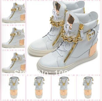 shoes white wedge sneakers gold plates gold chain