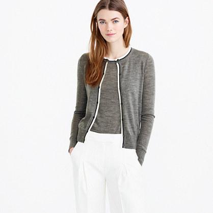 eb429fa5ea Tipped lightweight wool Jackie cardigan sweater