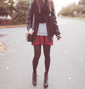 skirt knit skirt black tights varsity jacket jeffrey campbell jacket red lace girly cute korean fashion kstyle kpop nice cool short feminine korean style