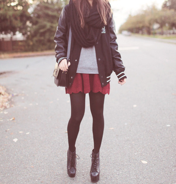 Skirt Knit Skirt Black Tights Varsity Jacket Jeffrey