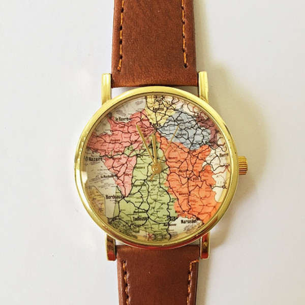 France map watch vintage style leather watch women watches france map watch vintage style leather watch women watches boyfriend watch vintage map world map mens watch silver gold rose gold gumiabroncs Images
