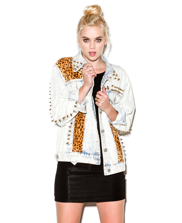 jacket denim jacket leopard print studded denim jacket denim