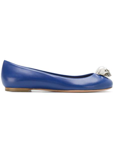 Alexander Mcqueen skull women leather blue shoes