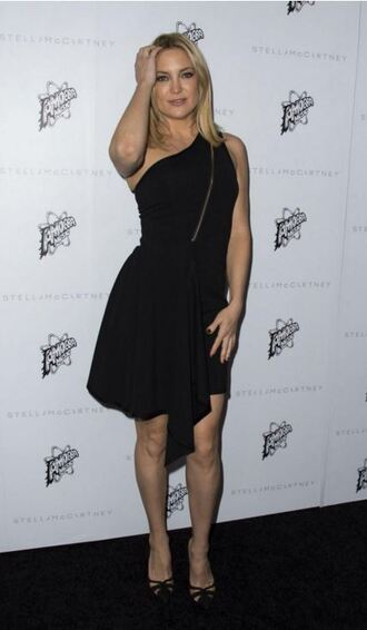 dress one shoulder black dress kate hudson