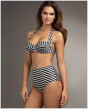 swimwear,high waisted bikini,striped high waisted