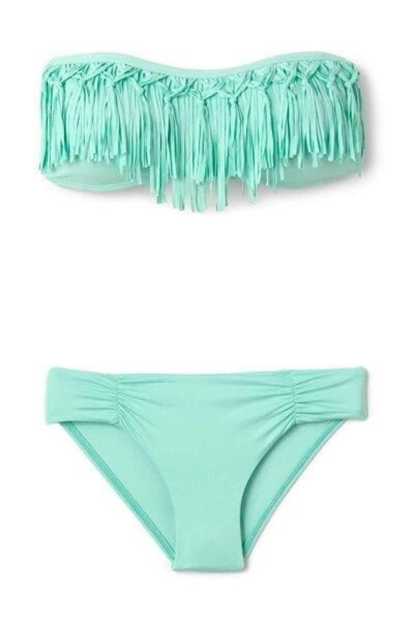 swimwear bandeau bikini teal