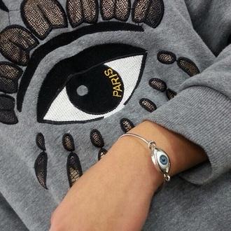 sweater blouse jewels kenzo eyering eyebracelet eye bracelets big eye grey sweater all seeing eye paris jumoer love cute amazing cool vintage kenzo sweater