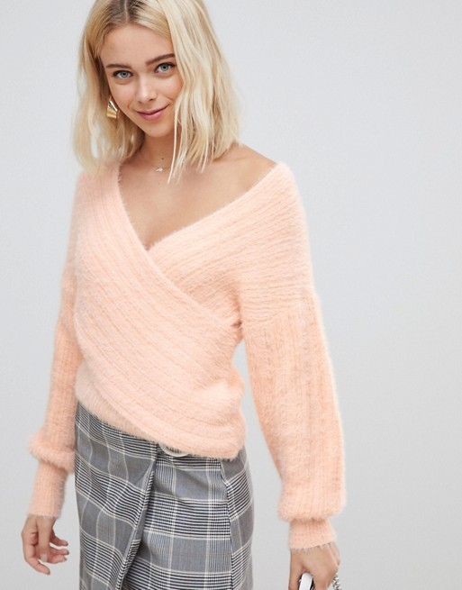 ASOS DESIGN drape wrap sweater at asos.com