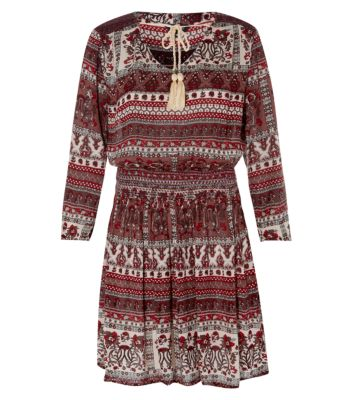 Burgundy Ethnic Print Tassel Front Smock Dress