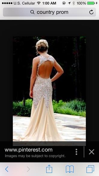 dress open back nude beaded straps