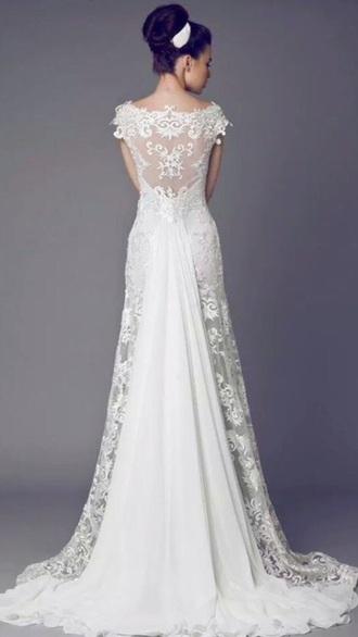 dress lace white bride long wedding dress