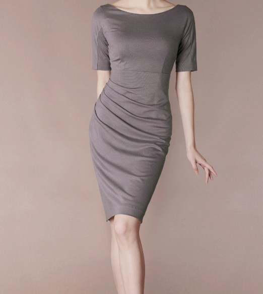 Grey Short Sleeve Elegant Noble Summer OL Slim O-neck Women Fashion Dress lml7039A - ott-123 - Global Online Shopping for Dresses