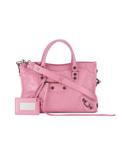 Balenciaga women leather purple pink bag