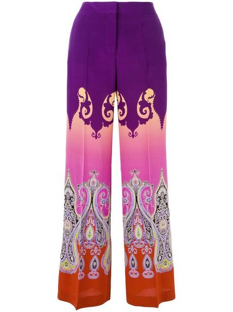 ETRO pants wide-leg pants women print silk purple pink