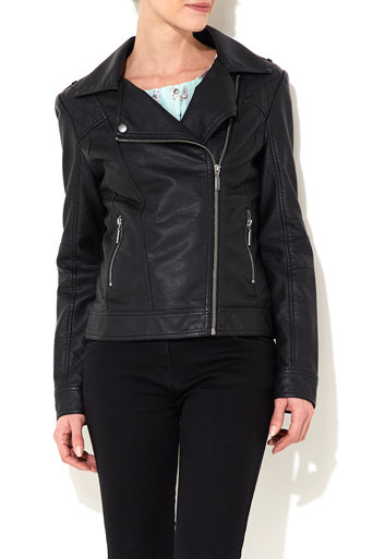 Black Biker Jacket - Jackets & Blazers  - Clothing  - Wallis