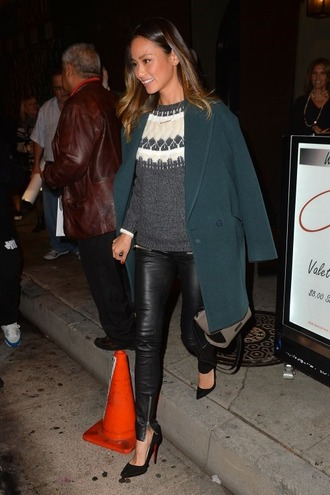 pumps fall outfits leather pants leather coat jamie chung forest green