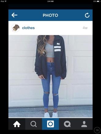 coat nike jeans ripped jeans cute jacket highwaistedjeans crop