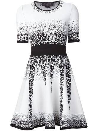 dress knitted dress jacquard ombre white