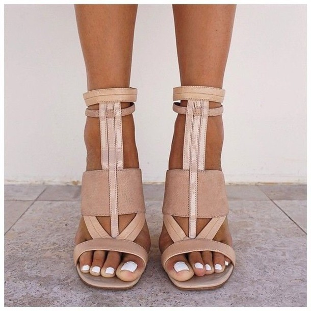 Shoes: nude heels, camel, brown, strappy, heels, sandals, high ...