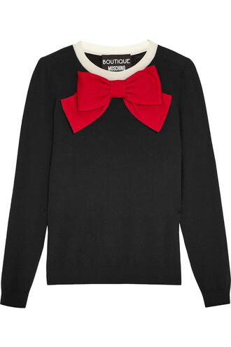 sweater wool sweater bow embellished wool black