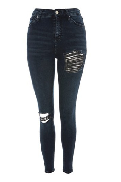 Topshop jeans ripped jeans ripped blue black