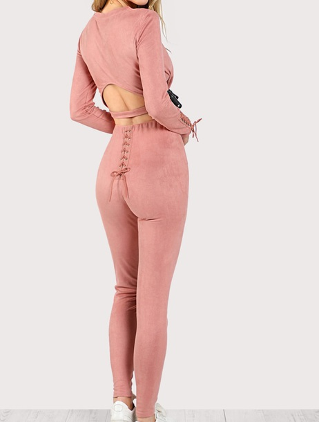 jumpsuit girly pink two-piece matching set lace crop tops crop cropped pants leggings lace up
