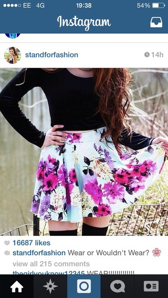 pink flowers floral skirt blue skirt purple flowers turquoise pleated skirt skater