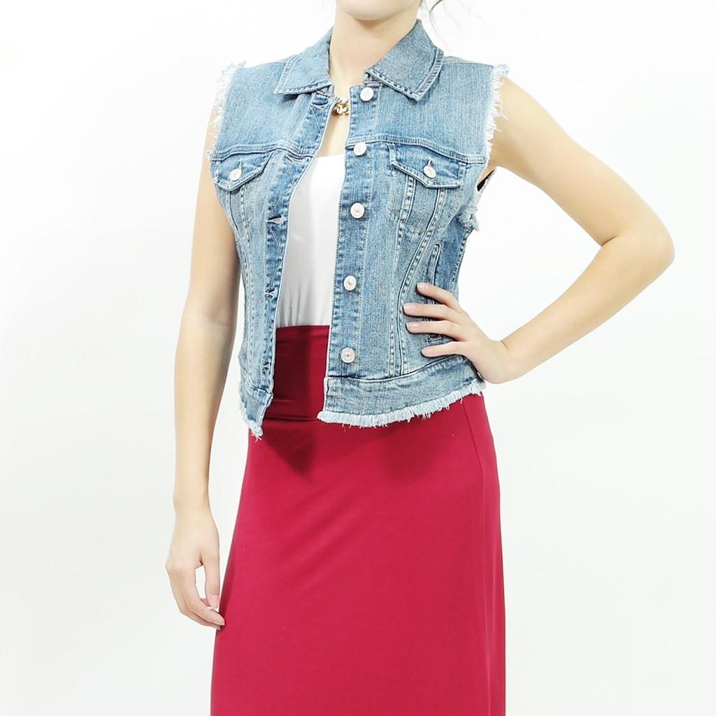 Vintage frayed denim medium blue jean vest jacket by just usa