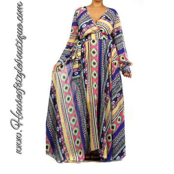 tribal pattern maxi dress summer dress