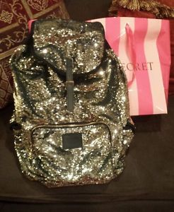 Victoria's Secret Pink Sequins Limited Edition Gold Bling Full Backpack Bag | eBay