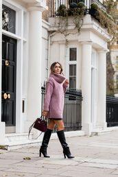 sweater,tumblr,pink sweater,turtleneck,turtleneck sweater,knit,knitwear,knitted sweater,skirt,mini skirt,black skirt,boots,black boots,bag,black bag