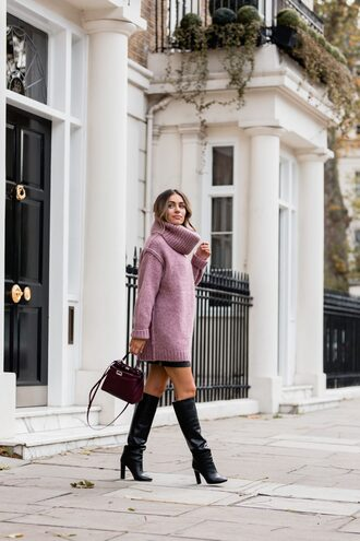 sweater tumblr pink sweater turtleneck turtleneck sweater knit knitwear knitted sweater skirt mini skirt black skirt boots black boots bag black bag