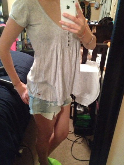 grey top blouse hollister