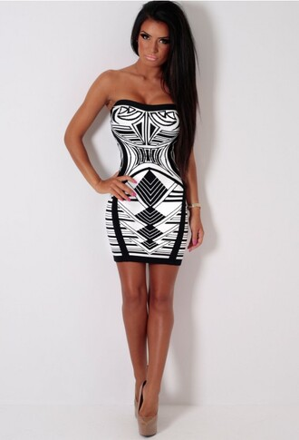 dress print printed dress aztec symetrical black and white strapless