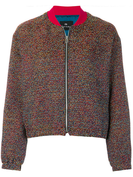 PS By Paul Smith jacket bomber jacket women cotton blue knit