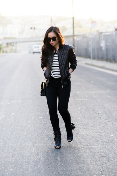 the fancy pants report blogger jacket quilted fringe shoes stripes