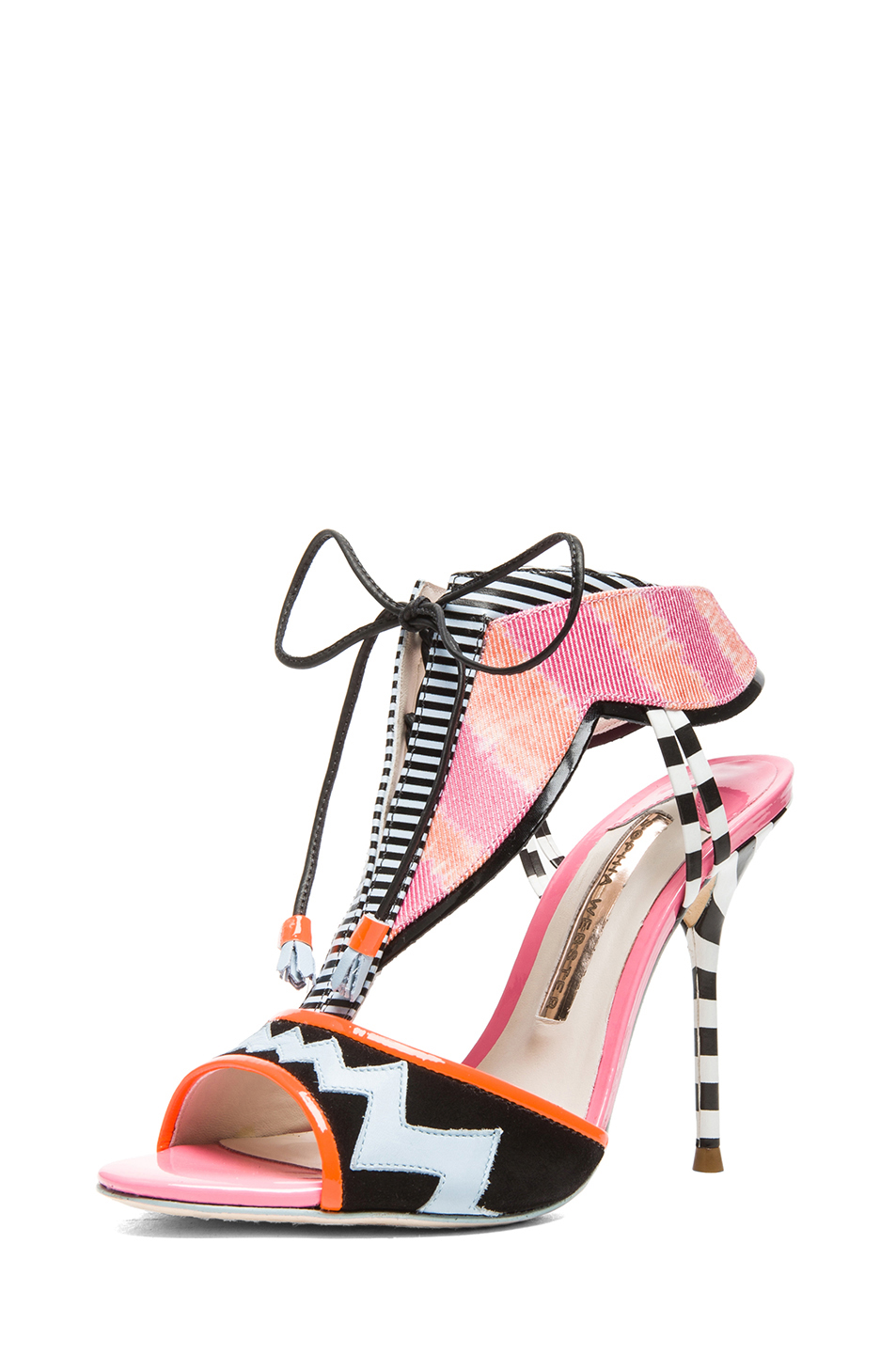 Sophia Webster|Leilou Leather & Suede Stripe Heels in Pink