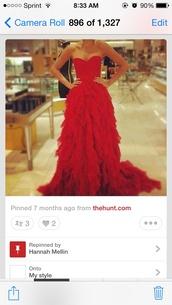 dress,red prom strapless ruffles,prom dress,prom,prom gown,red dress,style,red prom dress,cute,cute dress
