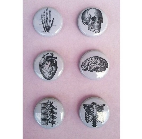 jewels pins tumblr tumblr clothes rad perfect combination beautiful clothes pins white jewelry black skull heart skeleton skeleton body grunge pale human indie hippie hipster grunge wishlist science squelette halloween home accessory button