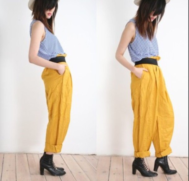 pants yellow trouser