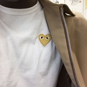 shirt,comme des garcons,heart,gold,t-shirt,comme des fuckdown,ASAP Rocky,black addidas shoes with gold a,white,white t-shirt,jacket
