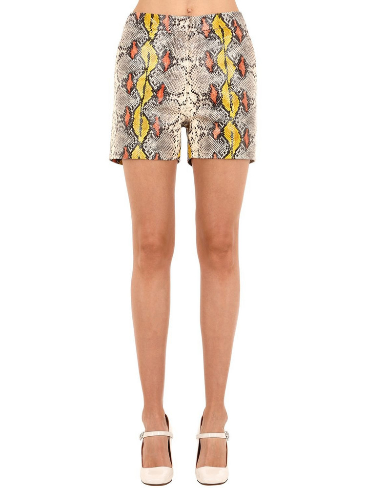 ROCHAS Snake Printed Leather Shorts